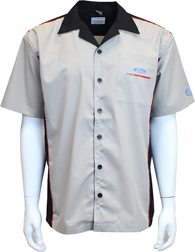 Button Up Collared Short Sleeve Dry-Wicking Shirt with Logo David Carey Ford Performance Polo Shirt Blue /& Black