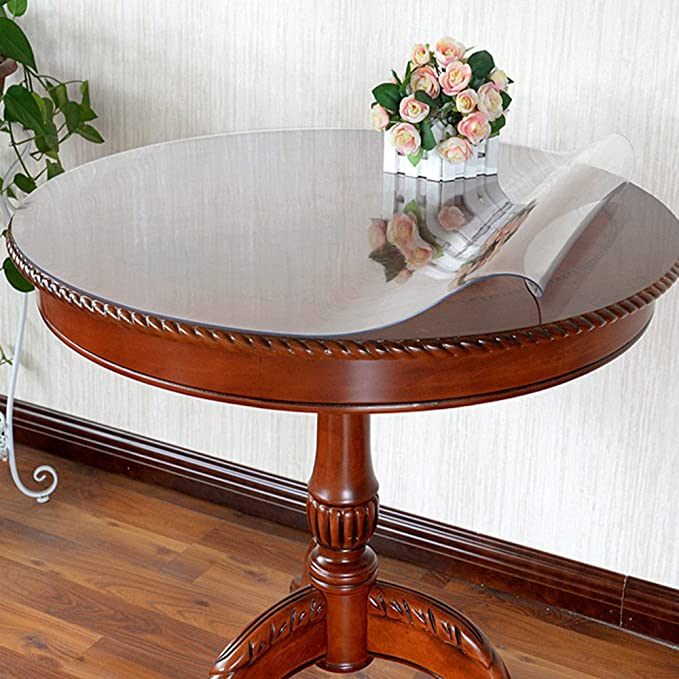 2 Set 18 Inch Diameter Round Table Protector Cover Clear Plastic Vinyl Tablecloth Small Sofa Bed Bedside Side End Table Top Wood Furniture Dining Tabletop PVC Planter Pot Mat Pads Wipeable Waterproof
