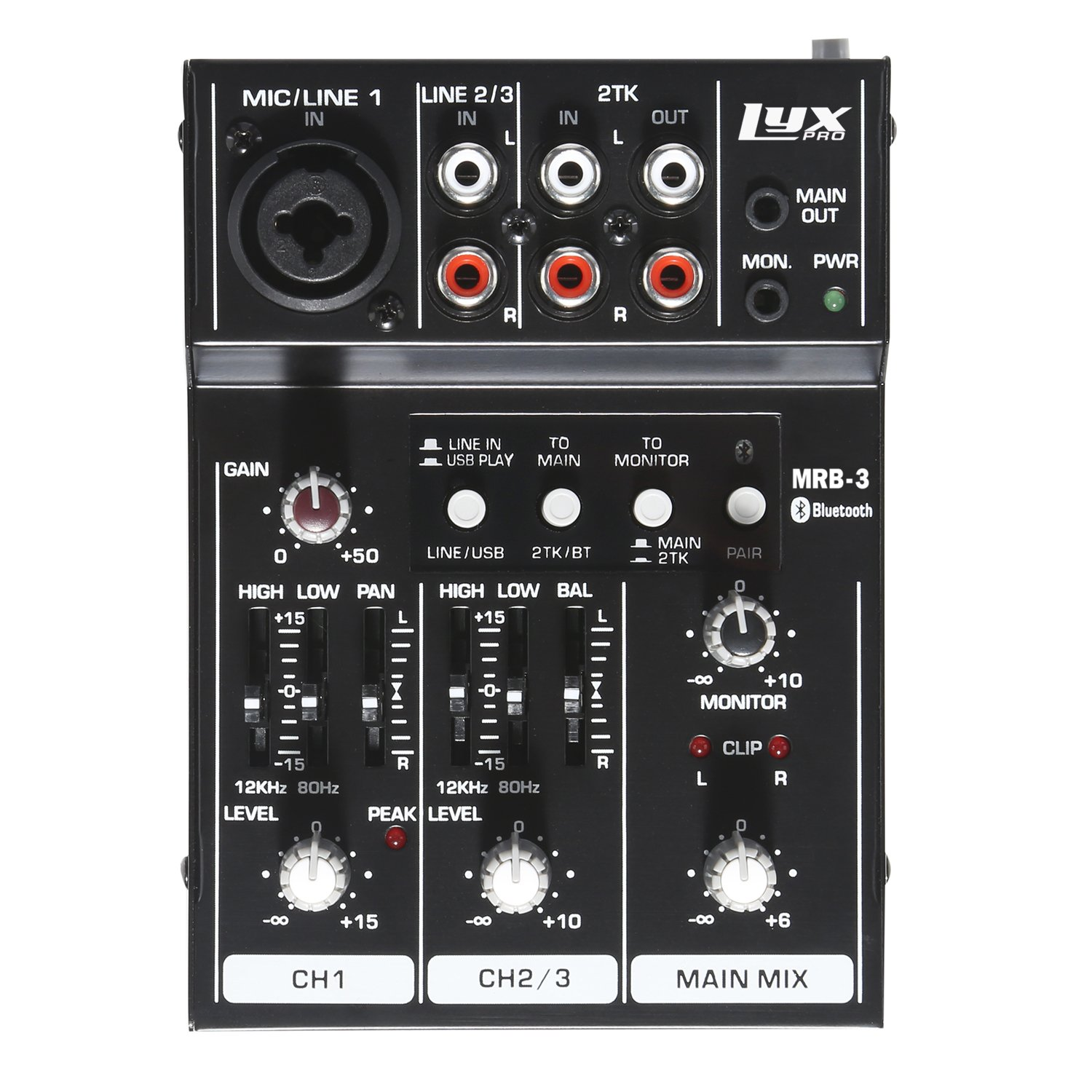 LyxPro MRB3 3-Channel Audio Mixer – Flexible, Compact Personal Pro Audio Mixer with USB & Bluetooth Connections by LyxPro (Image #2)