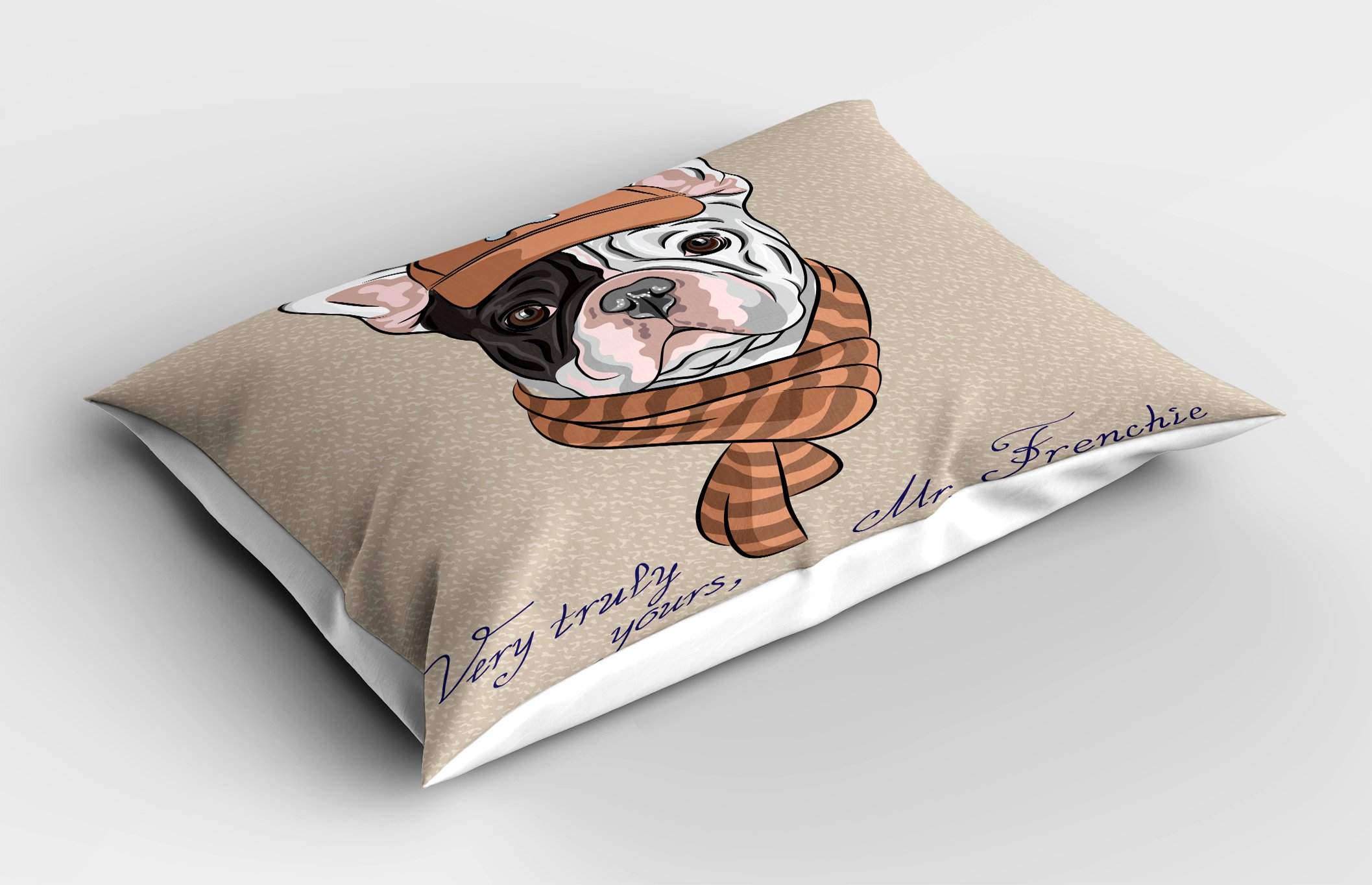 Ambesonne Vintage Pillow Sham, Funny Hipster French Bulldog with Cap and Lines Scarf Punk Animal Humor Art, Decorative Standard King Size Printed Pillowcase, 36 X 20 inches, Ecru Pink Brown by Ambesonne (Image #2)