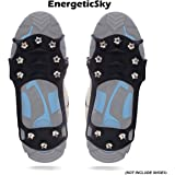 EnergeticSky Ice Cleat Spikes Crampons and Tread for Snow,Ice,Attaches Over Shoes/Boots for Everyday Safety in Winter,Outdoor,Slippery Terrain.