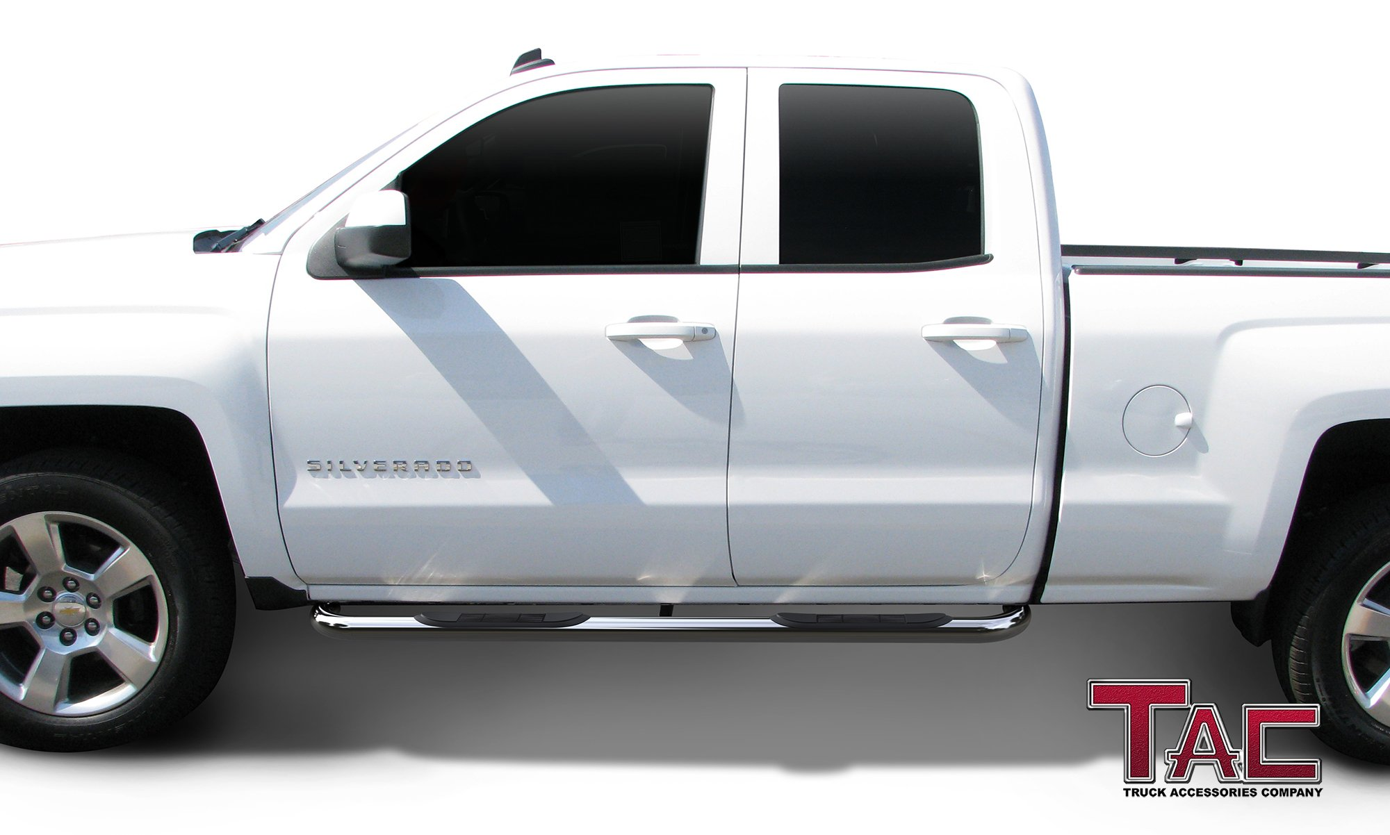 TAC Side Steps Fit Chevy Silverado/GMC Sierra 1999-2018 1500 & 1999-2019 2500/3500 Extended/Double Cab (Excl. C/K Classic) 3'' Stainless Steel Side Bars Nerf Bars Step Rails Running Boards 2 Pieces by TAC TRUCK ACCESSORIES COMPANY (Image #3)
