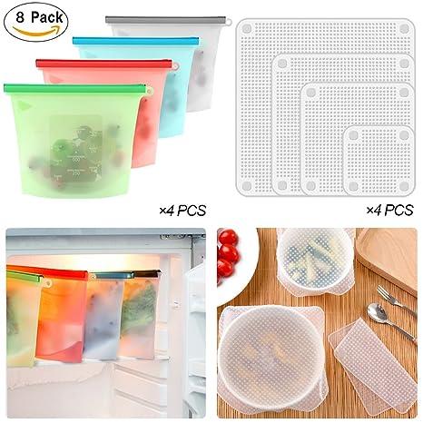 Tiannuofa Juego de 4 bolsas de silicona para alimentos ...