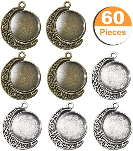 7 pieces Square Charms Pendants Alloy Silver Cameos Base For Hand Making Crafts