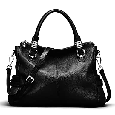 dafb3e87f2 S-ZONE Women s Vintage Genuine Leather Tote Shoulder Bag Top-Handle  Crossbody Handbags Ladies