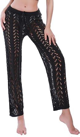 Amazon Com Trajes De Bano De Encaje Para Mujer Pantalones De Crochet Huecos Cintura Alta De Malla Para Playa Bikini Talla Unica Clothing