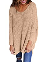 Exlura Women's Oversized Knitted Sweater Long Sleeve V-Neck Loose Top Jumper Pullovers