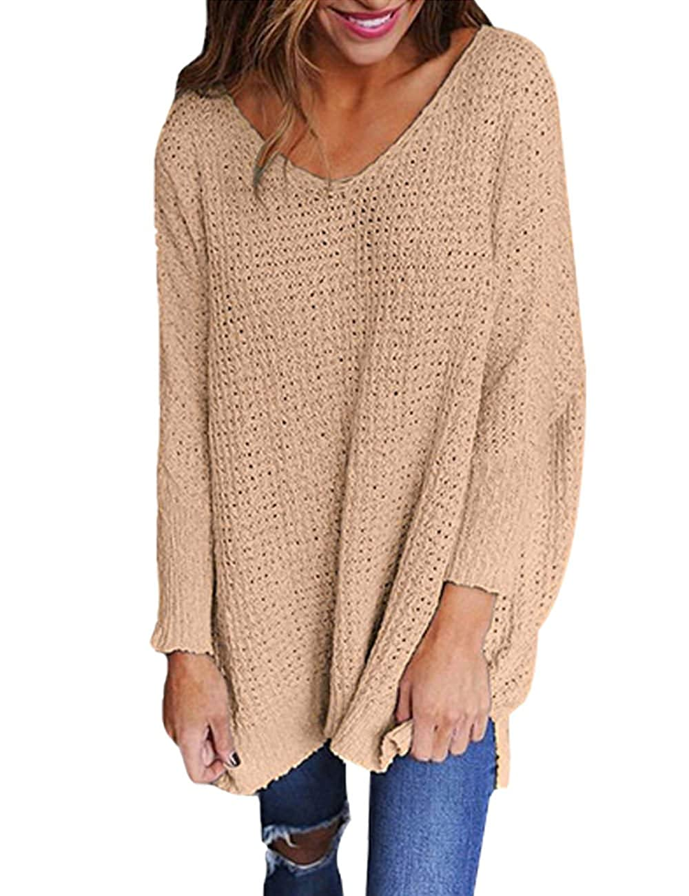 Exlura Women\u0027s Oversized Knitted Sweater Long Sleeve V,Neck Loose Top  Jumper Pullovers