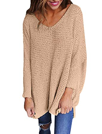49c7cc8fb6 Exlura Women s Oversized Knitted Sweater Long Sleeve V-Neck Loose Top  Jumper Pullovers
