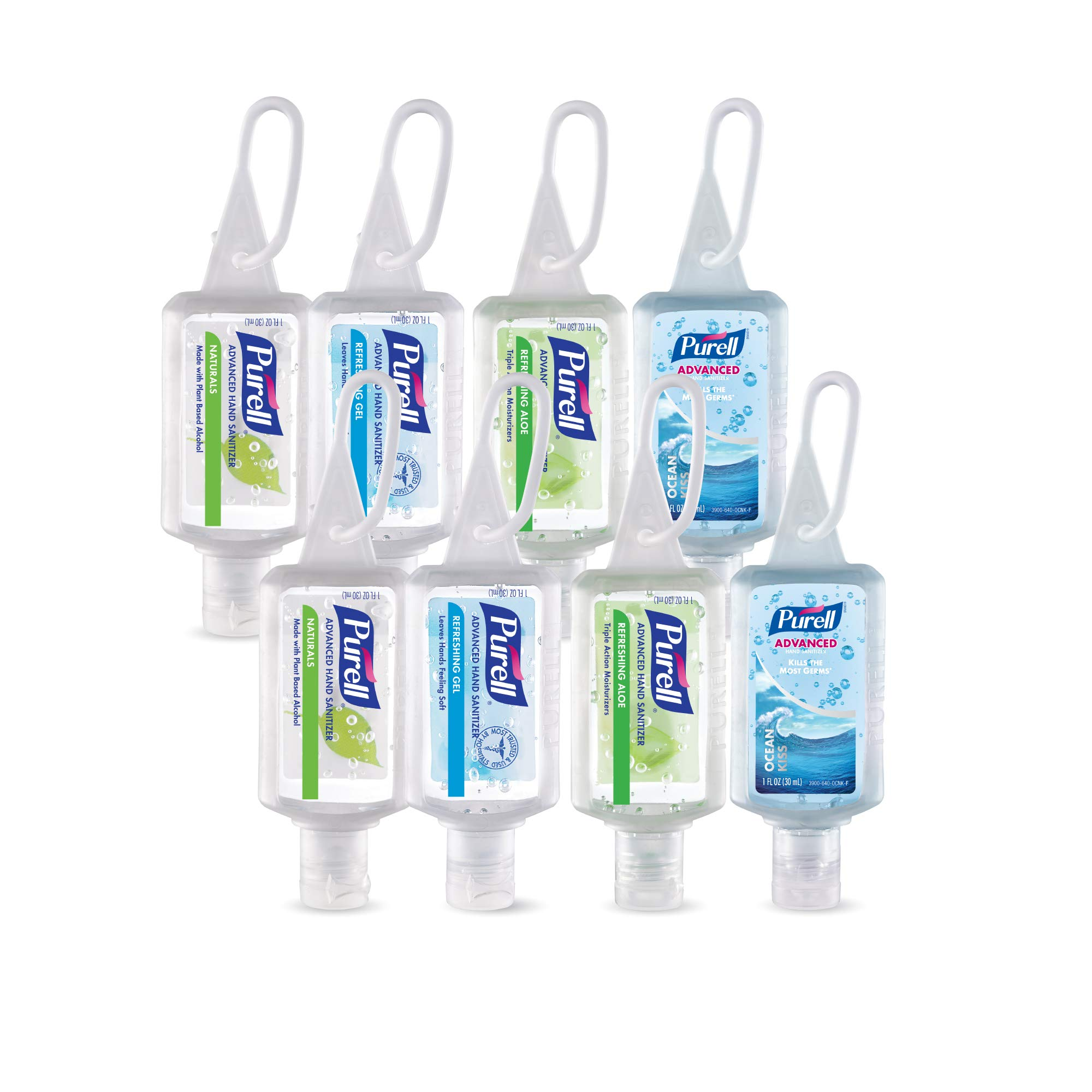 PURELL Advanced Hand Sanitizer Gel, Variety Pack, 8 -1 fl oz Portable, Travel Sized Flip Cap Bottles with included JELLY WRAP Carriers (Case of 8) - 3900-09-ECSC by Purell
