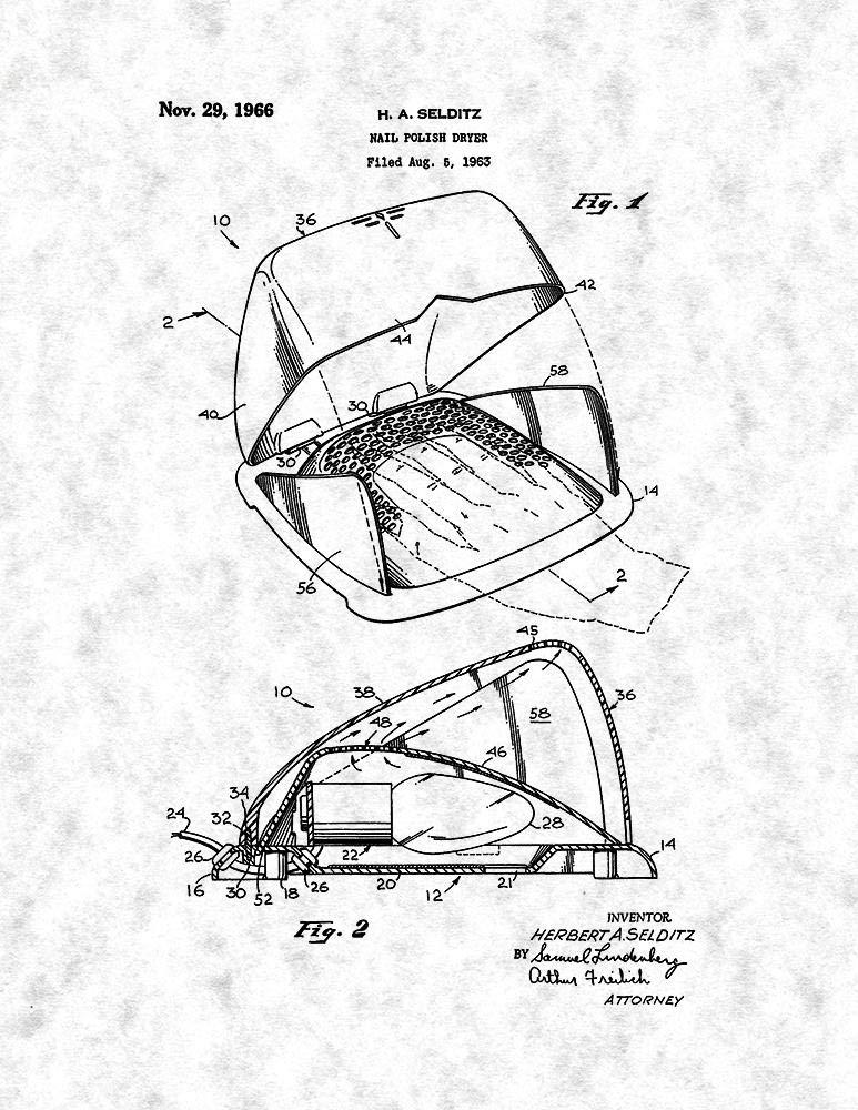 Buy Frame A Patent 20 X 24 Gunmetal Nail Polish Dryer Patent