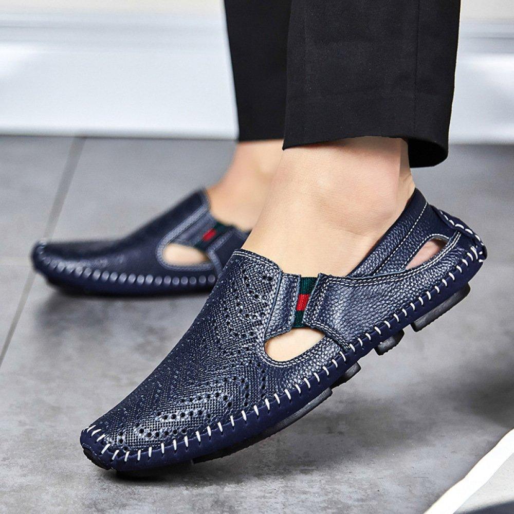 Sommer Sandalen Loch Schuhe Erbsen Männer Freizeitschuhe Hohl Lederschuhe Erbsen Schuhe Schuhe Blau2 04de4f