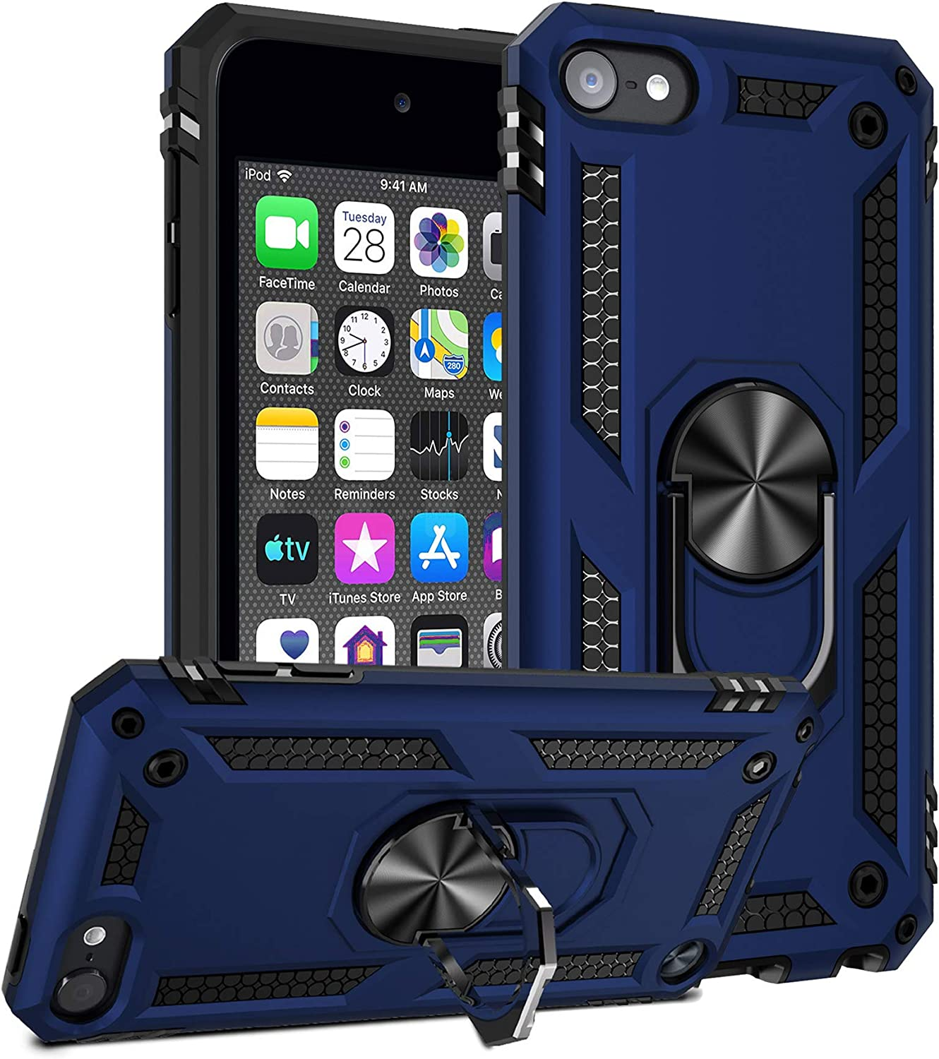 ULAK iPod Touch 7 Case, iPod Touch 6 Case, Hybrid Rugged Shockproof Cover with Built-in Kickstand for Apple iPod Touch 7th/6th/5th Generation (Blue)