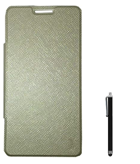best sneakers b2c91 70834 RRTBZ Flip Cover Case for Micromax Canvas Mega 4G Q417 with Stylus - Golden