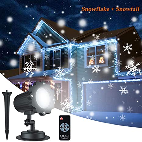 christmas snowflake projector lights aloveco rotating led snowfall projection lamp with remote control outdoor