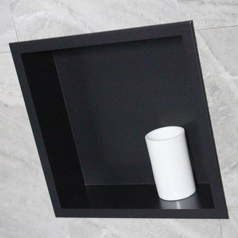 BERNSTEIN Wandnische aus Edelstahl BS303010-30 x 30 x 10 cm Farbe:Schwarz Farbe w/ählbar