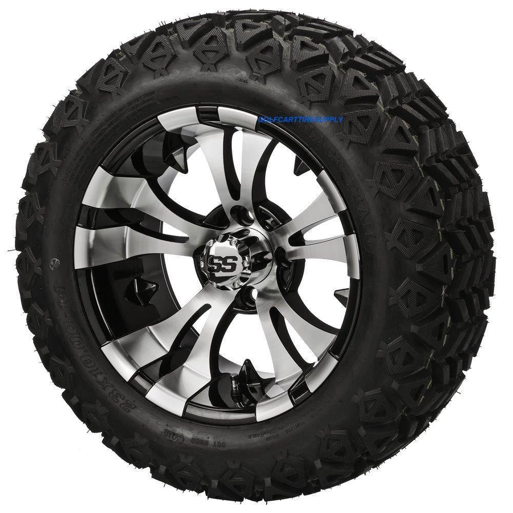 14'' VAMPIRE Machined/Black Aluminum Wheels and 23x10-14'' DOT All Terrain Golf Cart Tires Combo - Set of 4