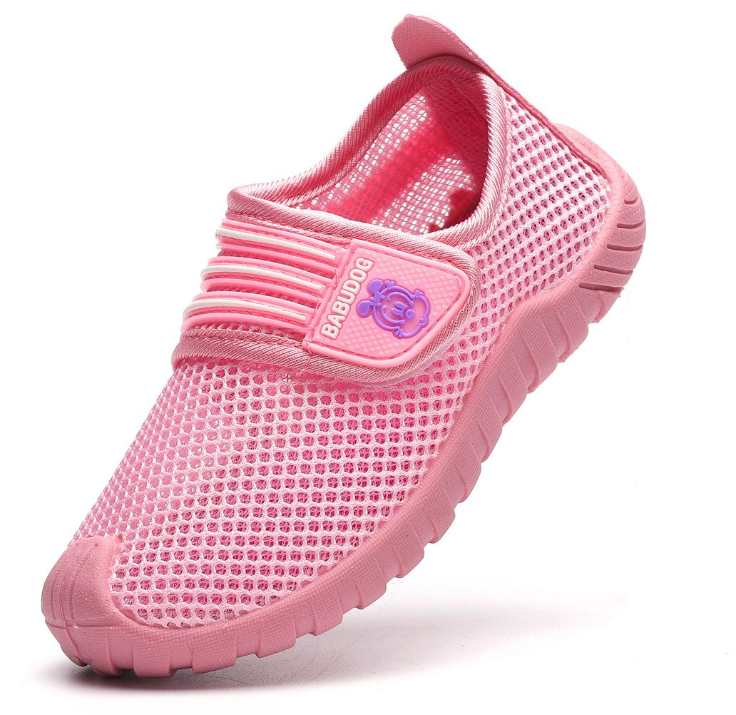 DADAWEN Kid's Boy's Girl's Breathable Mesh Sneakers Strap Athletic Running Shoes Pink US Size 10 M Toddler