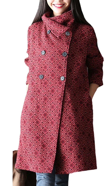 Vogstyle Damen Autumn Zweireiher Blume Drucken Trench Coat