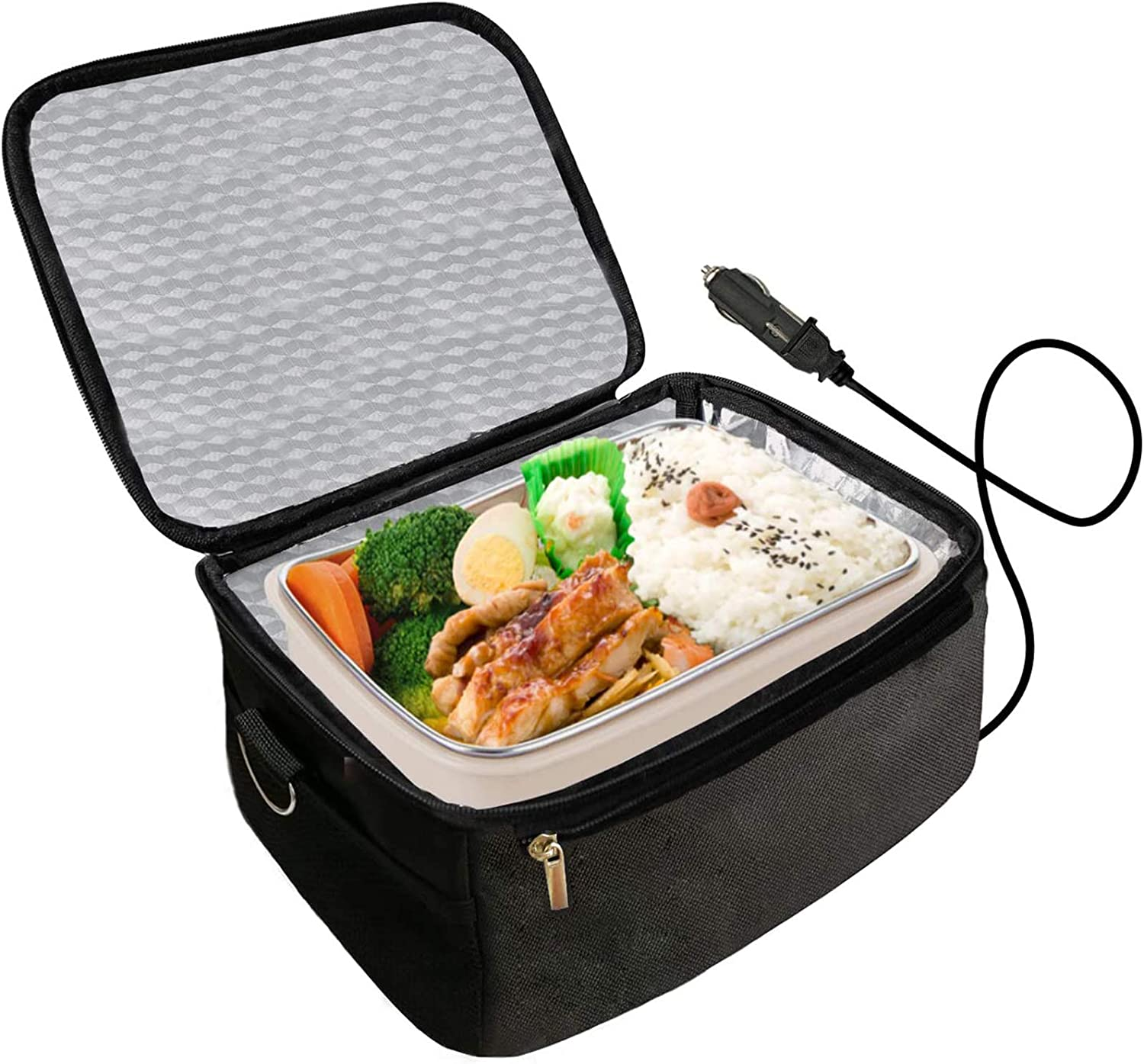 Portable Oven - 12V Personal Food Warmer,Car Heating Lunch Box,Electric Slow Cooker For Meals Reheating & Raw Food Cooking for Road Trip/Office Work/Picnic/Camping/Family gathering