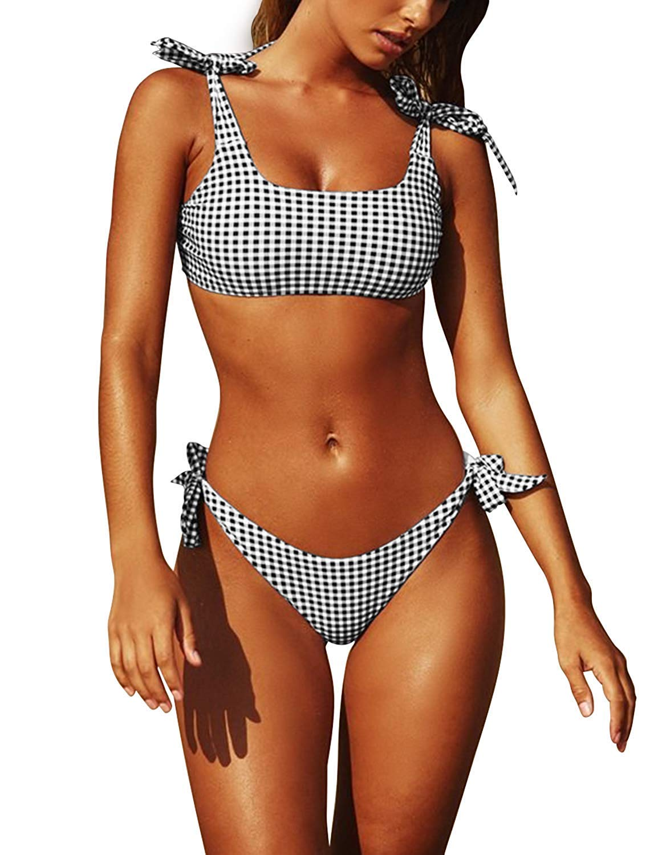 YYO Eletina Womens Two Piece Swimsuits Tie Knot Padded Push Up Brazilian Thong Cheeky Bikini Set(xs Gingham) by YYO Eletina