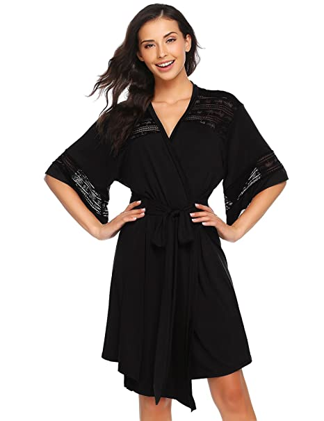 2780ee5921 Etuoji Satin Short Sleeve Kimono Robe for Women Lightweight Night Gown Dress  Black Large