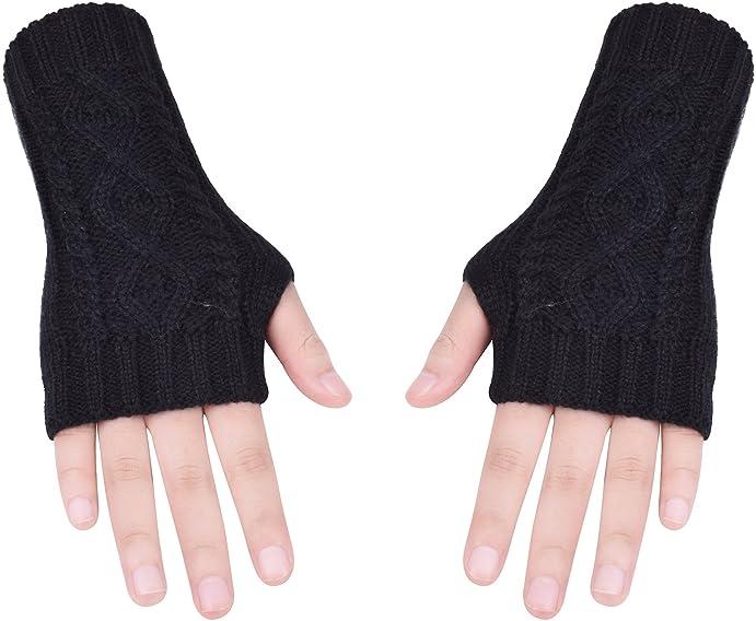 Knit Fingerless Gloves Women Winter Fashion Hand Warmers Thumb Hole ...