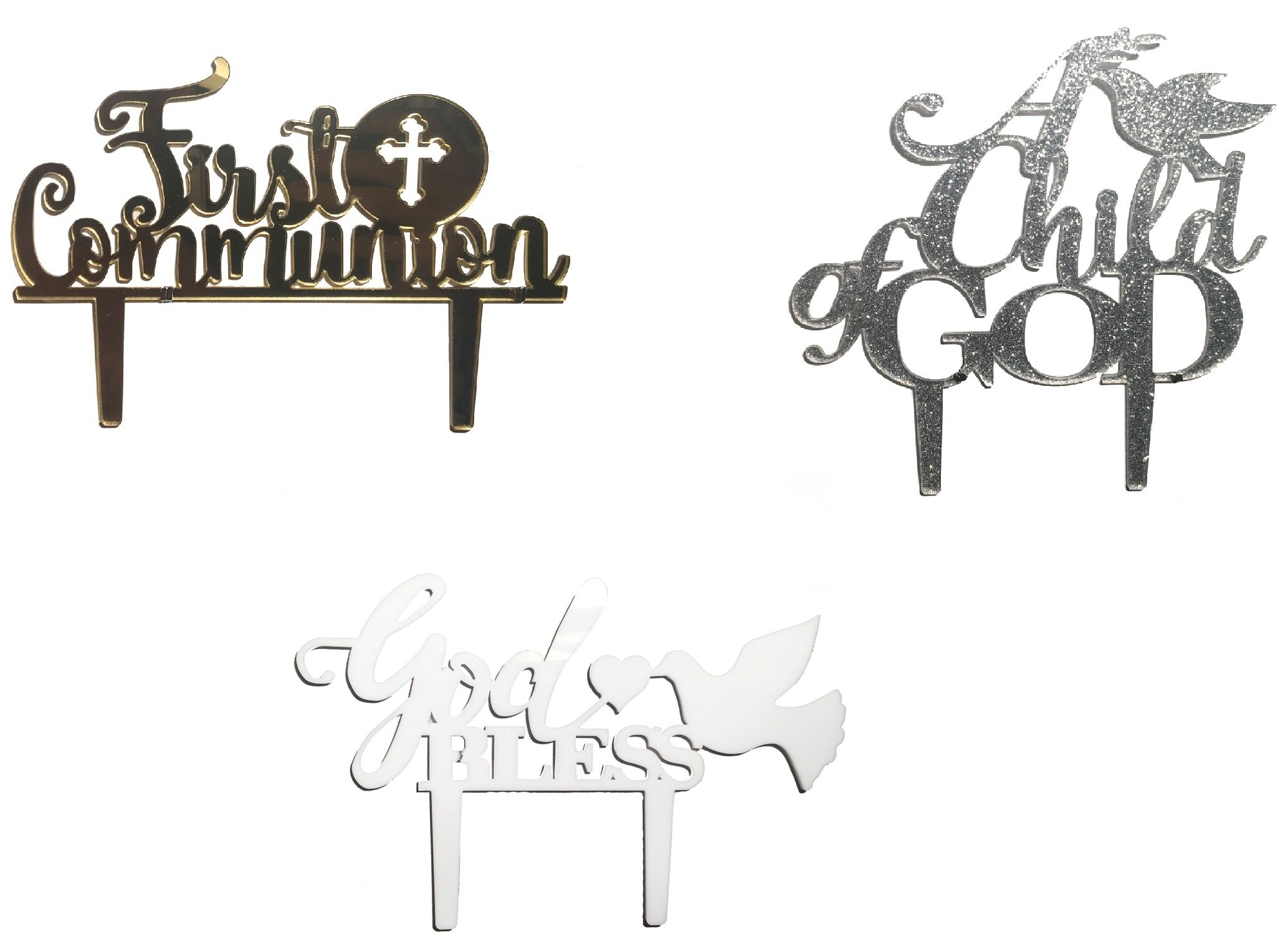[USA-SALES] Catholic Cake Toppers Selection, Baptism Christening Decorations, ''A Child of God'', ''God Bless'', ''First Communion'' Usa-Sales Seller