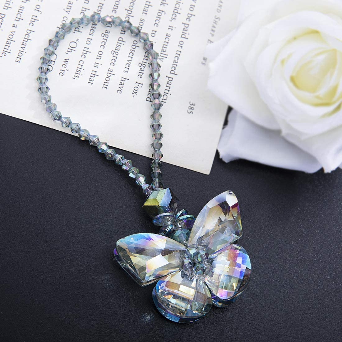 H&D Crystal Glass Butterfly Car Key Charm Mirror Hanging Ornaments Gift (Butterfly-1)