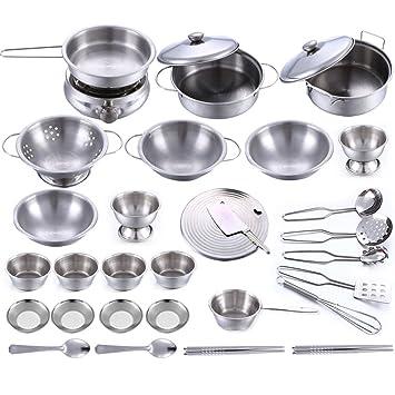 BSPAS Juguetes de Cocina 32 Piezas Acero Inoxidable Metal Utensilios de Cocina Batería de Cocina para Niños Juegos