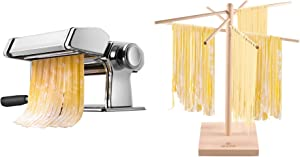 iSiLER Pasta Machine 150 Roller Pasta Maker 9 Adjustable Thickness Settings Noodles Maker with Natural Beech Wood Pasta Drying Rack