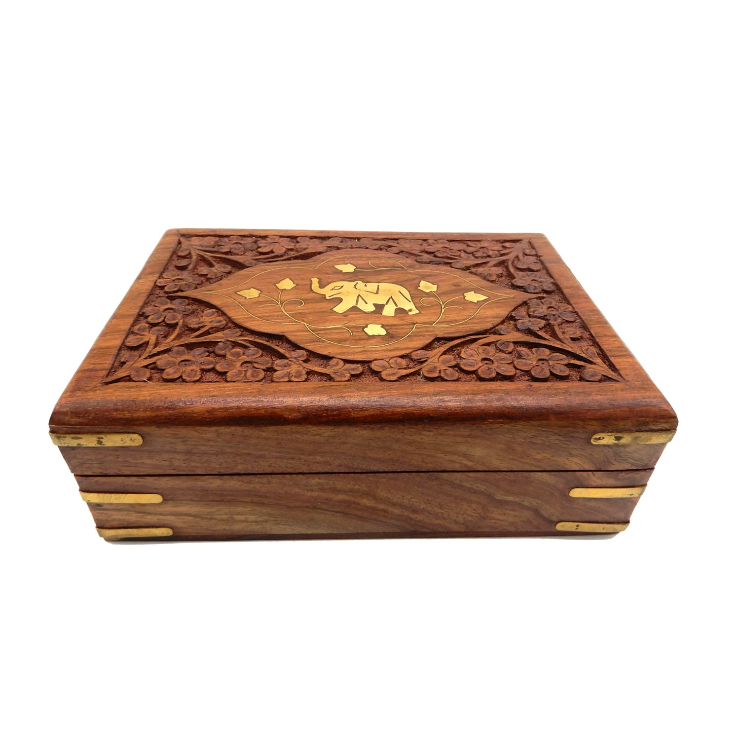 IndiaBigShop Hand Carved Wooden Keepsake Jewelry Trinket Box Storage Organizer with Single Elephant and Carving 8 X 5 Inch
