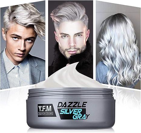 Y F M Sliver Gray Hair Color Cream Hair Wax Silver Grey Silver