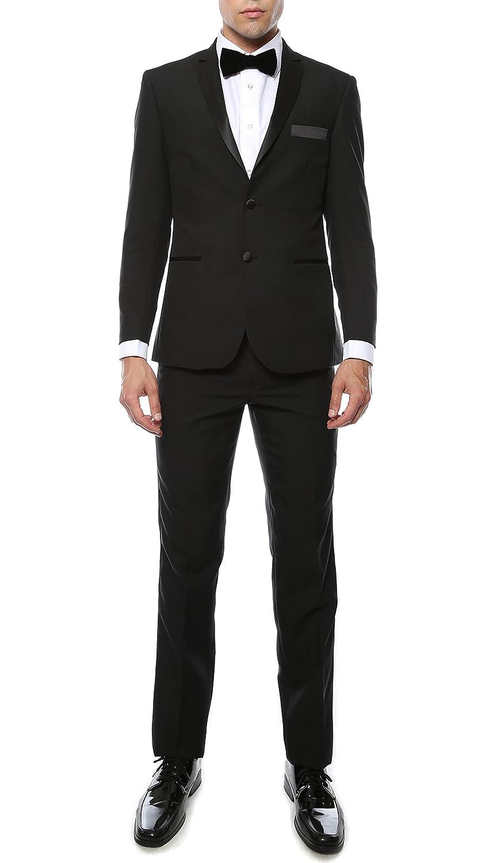 Ferrecci メンズ プレミアム 2ピース & 3ピース 超快適スリムフィット タキシード B01D28XT7M 50 Long / 44 Waist|MMTUX Black 100% Polyester Slim MMTUX Black 100% Polyester Slim 50 Long / 44 Waist