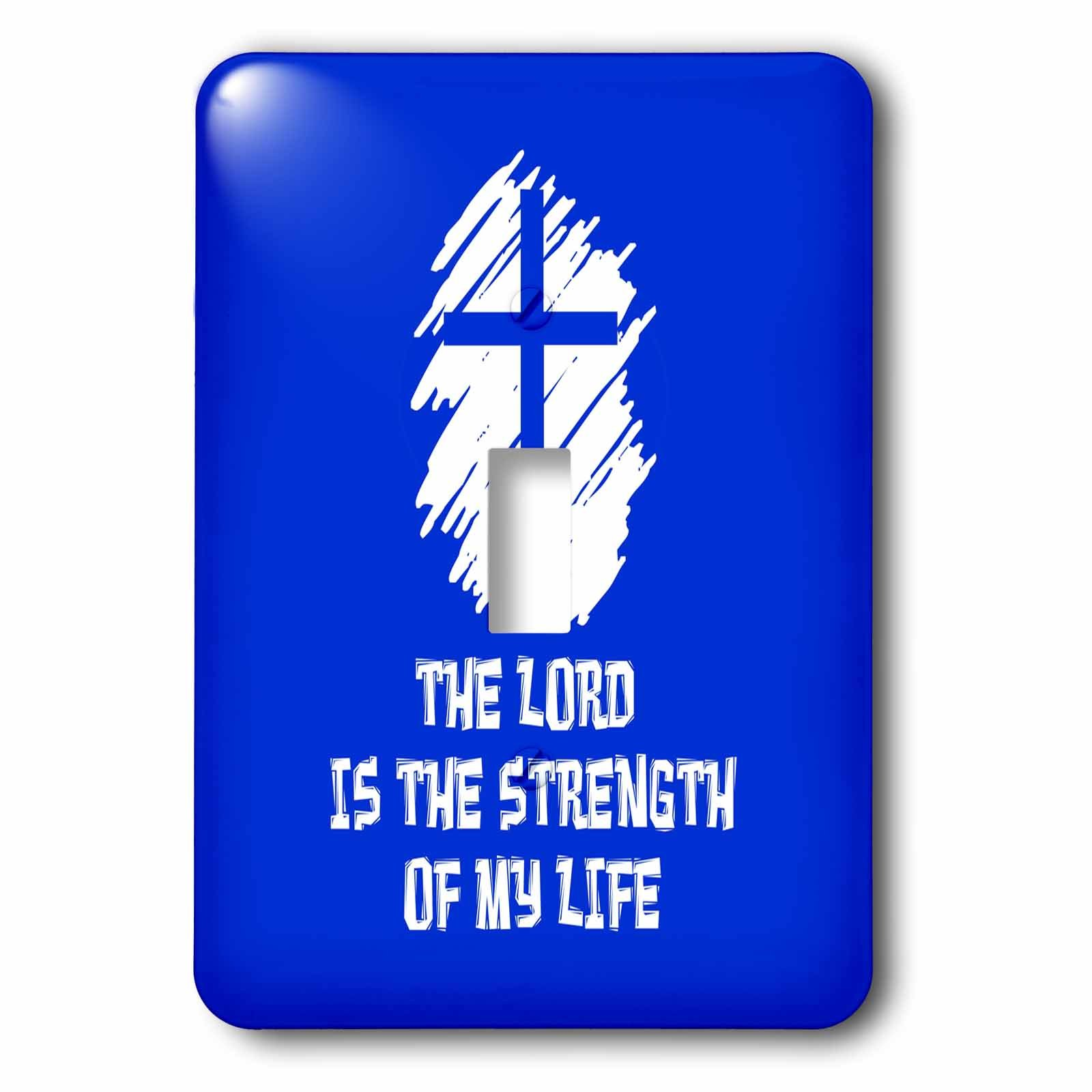 3dRose Alexis Design - Christian - Decorative cross, The Lord is the strength of my life text on blue - Light Switch Covers - single toggle switch (lsp_286197_1) by 3dRose