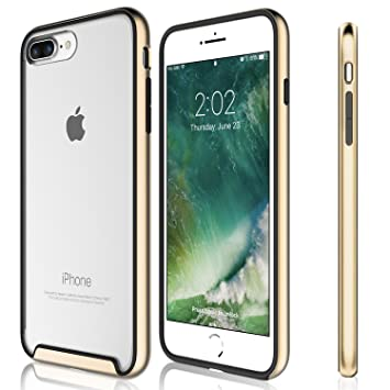 Funda iPhone 8 Plus, iPhone 7 Plus - KHOMO Carcasa Transparente Triple Protección con Borde Bumper Case de Colores Antichoque para el Nuevo Apple ...