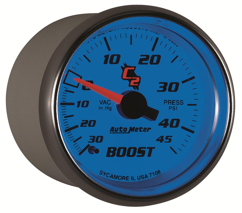 Auto Meter 7108 C2 2-1/16' 30 in. Hg/45 PSI Mechanical Vacuum/Boost Gauge