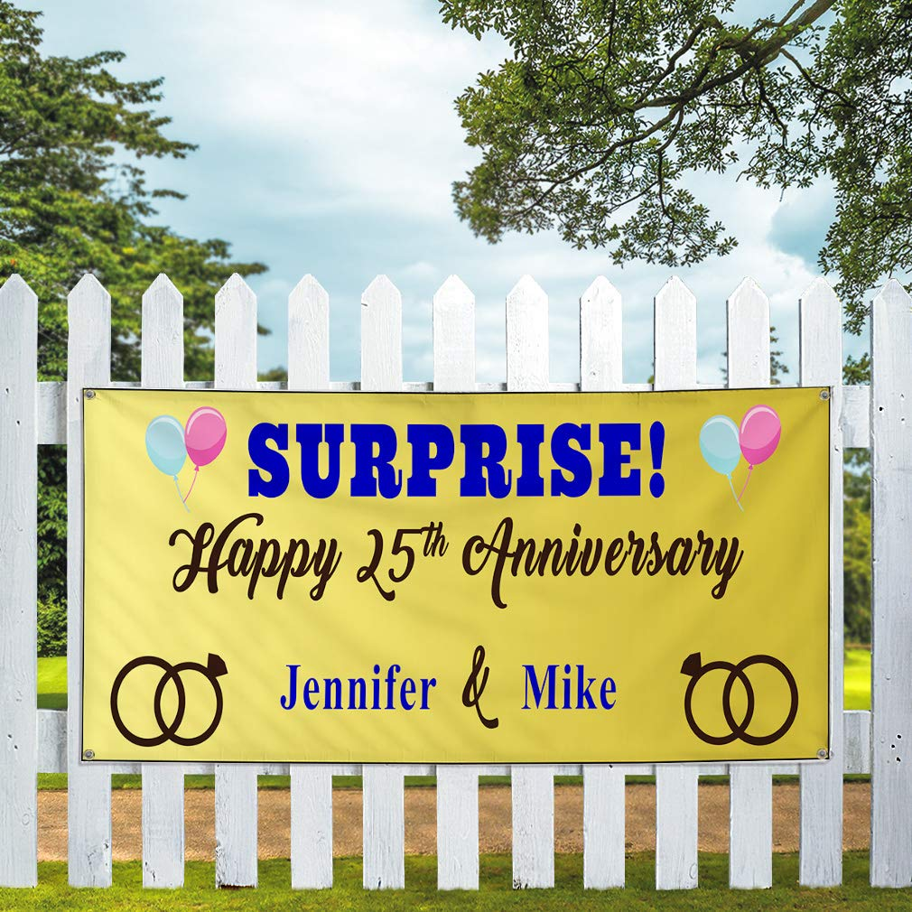 Custom Vinyl Banner Sign Multiple Sizes Surprise Happy Anniversary Wife Names A Lifestyle Outdoor Yellow 10 Grommets 60inx144in One Banner