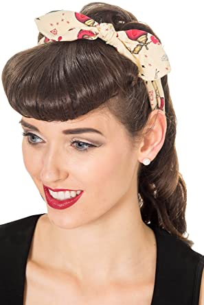 Banned Ana Vintage Retro Rockabilly Bandana Headband Beige One