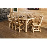 Rustic White Cedar Log Dining Table & 6 Chairs Set