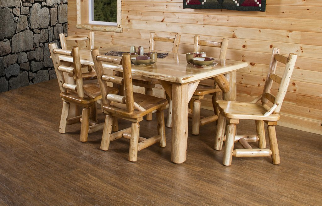 Amazon.com   Rustic White Cedar Log Dining Table U0026 6 Chairs Set   Table U0026  Chair Sets