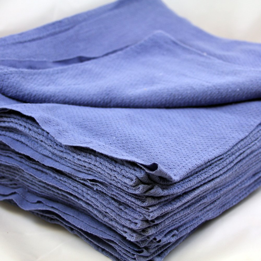 Produit Royal 50PCS Blue Glass Cleaning Shop 100% Cotton Towel Blue Huck Surgical Rags Cloth Towels Car Window Clean Glasses Pack Absorbent Detailing Reclaimed Lint Free Home Kitchen Restaurant
