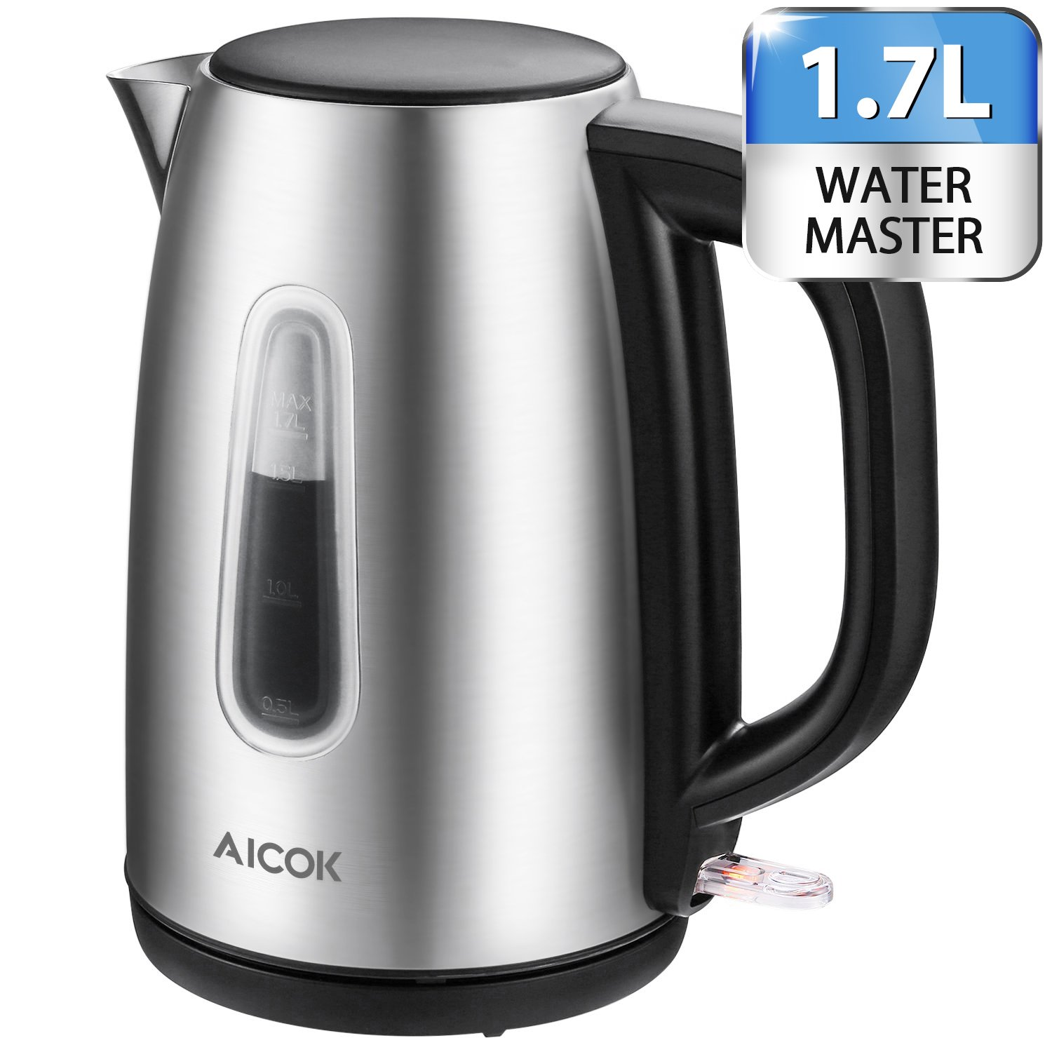 Electric Kettle 1.7L Stainless Steel Tea Kettle with British Strix Control, 1500W Fast Boiling Water Kettle, Hot Water Kettle Electric with Auto Shut-Off, BPA-Free By Aicok by AICOK
