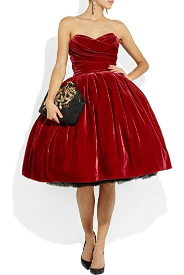 Uryouthstyle Sweetheart Prom Dresses Velvet 80s Short Cocktail Gowns