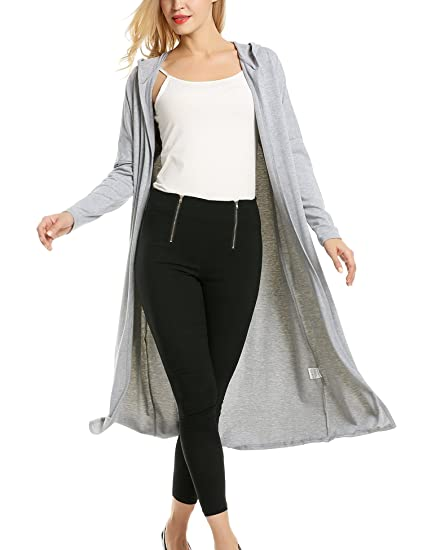 71ca85804a Meaneor Womans Long Sleeve Waterfall Open Front Maxi Cardigan w  Hoodies