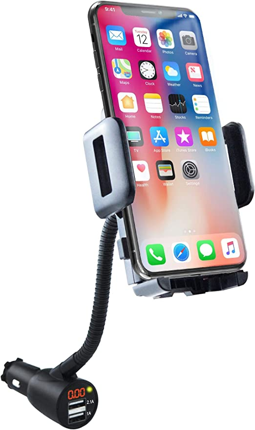 Retail Packaging Amzer AMZ93559 Lighter Socket Phone Car Mount with Charging and Case System for Samsung Transform Ultra SPH-M930 Black