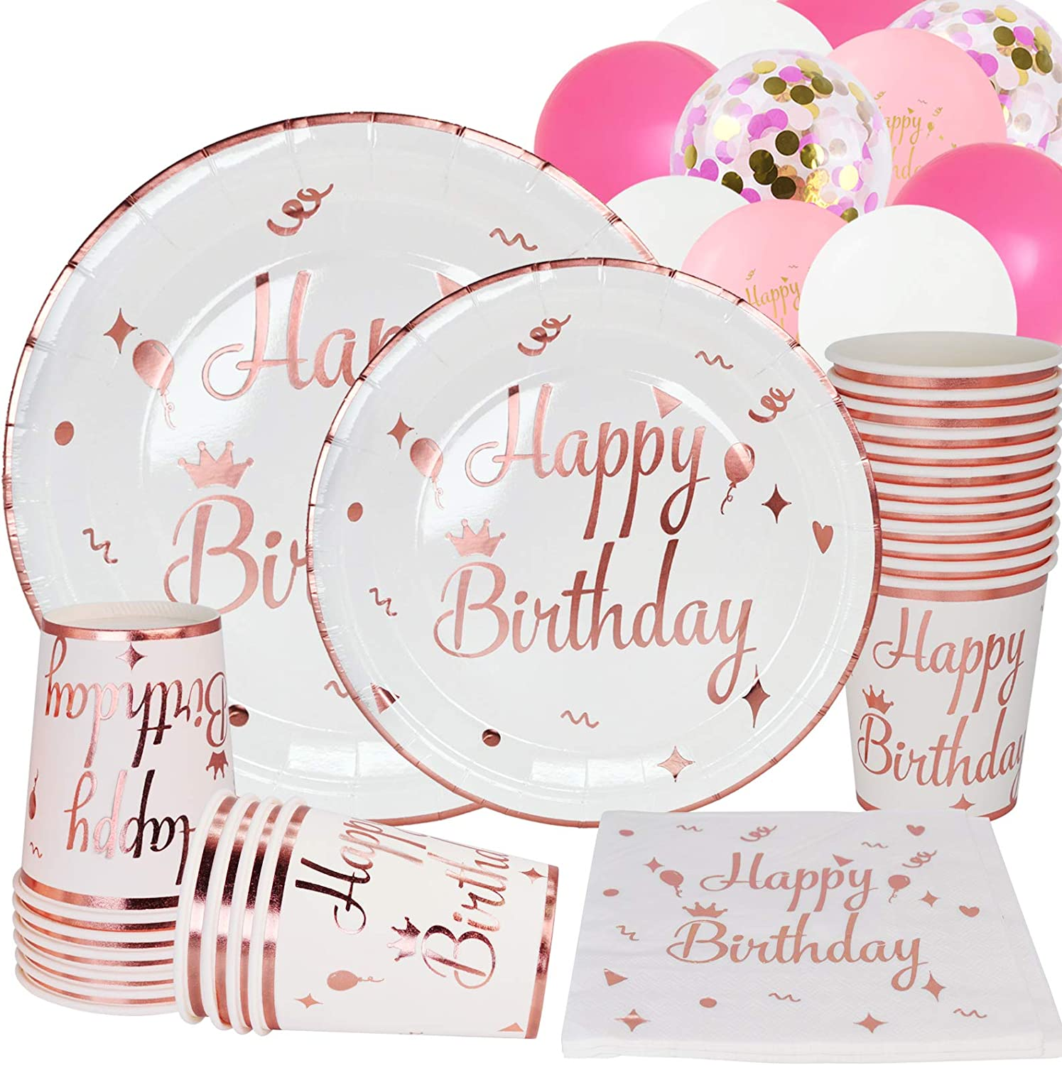 White and Gold Happy Birthday Party Supplies for 25 Guests RoseGold Foil Paper Plates and Napkins Set Perfect for Birthday Baby Shower,Girl Women Event & Party Supplie