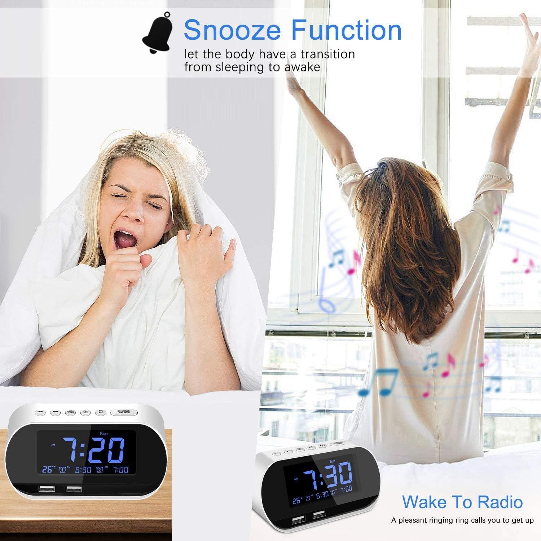 Volume R/éGlable avec Gradation Double Chargement USB Katigan Radio-R/éVeil Blanc Affichage Num/éRique FM avec Minuterie de Mise en Veille