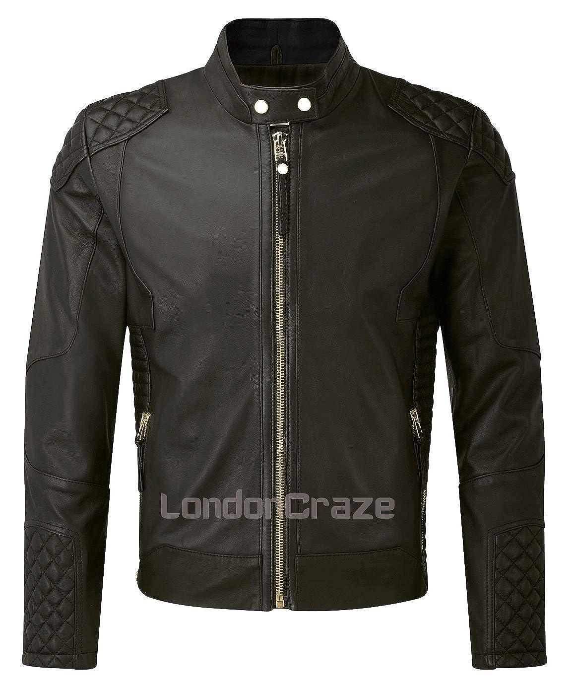 London Craze Mens Leather Jacket Stylish Motorcycle Biker Pure Lambskin Black