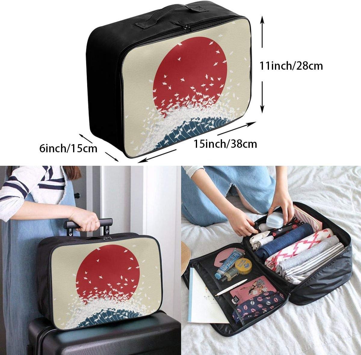 Japanese-art Travel Carry-on Luggage Weekender Bag Overnight Tote Flight Duffel In Trolley Handle